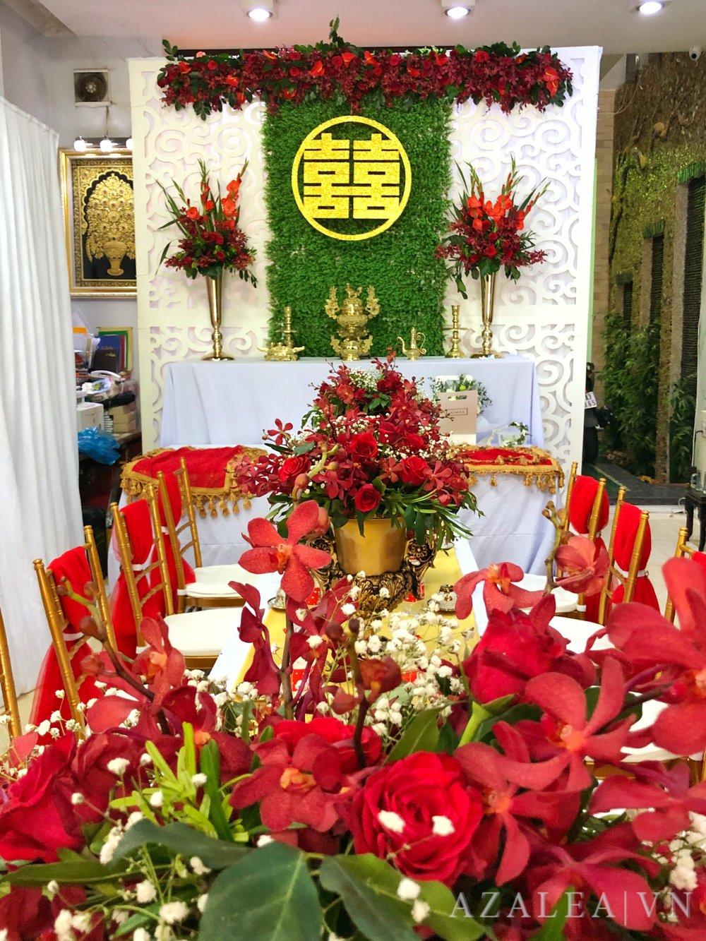 Trang trí tiệc cưới Bàn gia tiên