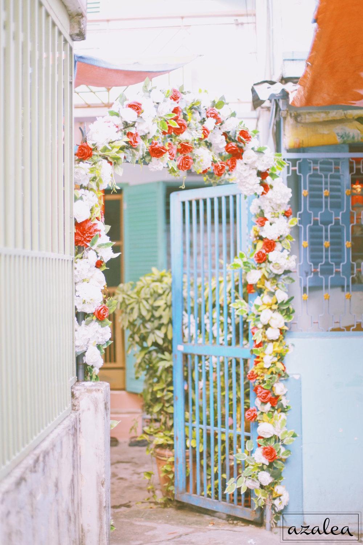 Trang trí tiệc cưới cổng hoa Nhà trai