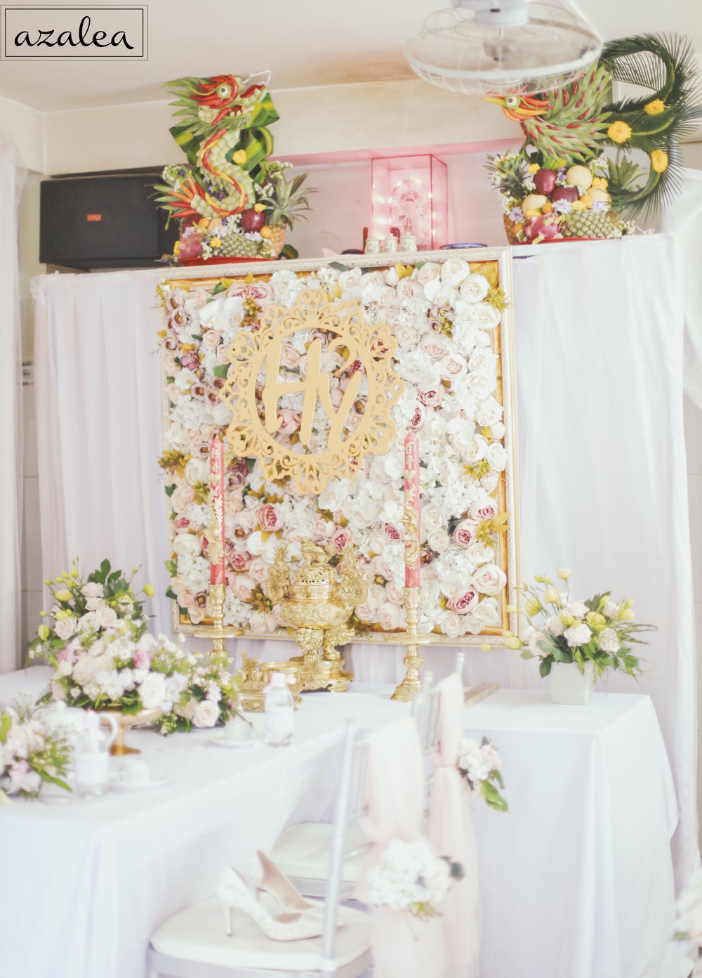 Trang trí tiệc cưới Bàn gia tiên Nhà gái