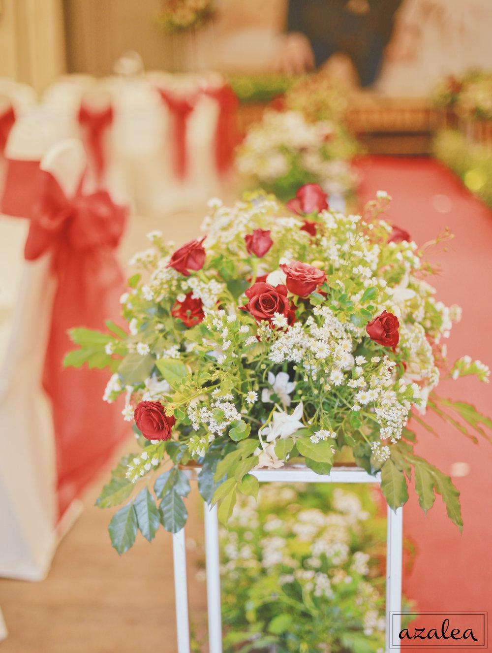 Trang trí tiệc cưới Hoa của lối đi