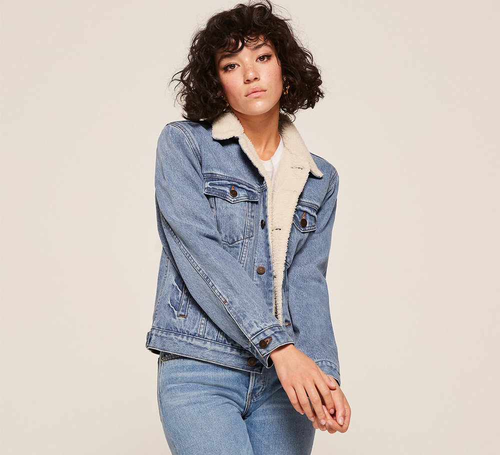 Reformation Shearling Jean Jacket, $148