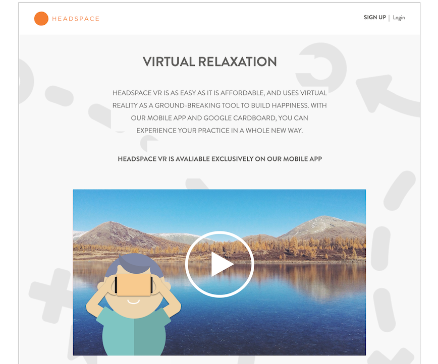 Click to reveal full screen of Headspace.com/VR sample