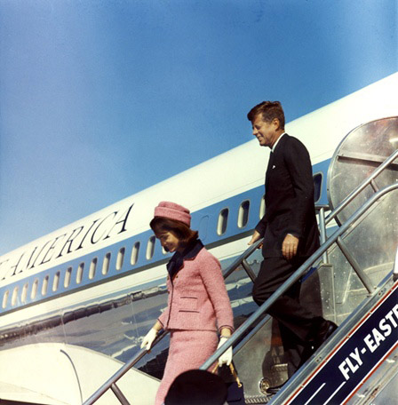 President and Mrs. Kennedy arrive at Love Field, Dallas, Texas on November 22, 1963. Photograph by Cecil Stoughton, White House, in the John F. Kennedy Presidential Library and Museum, Boston.