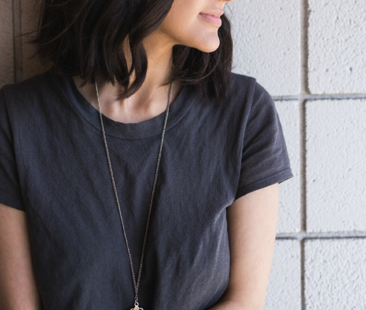 Pictured: Vintage Modern Tee purchased through Anthropologie. Similar on  LACAUSA website  Vintage Frank Top