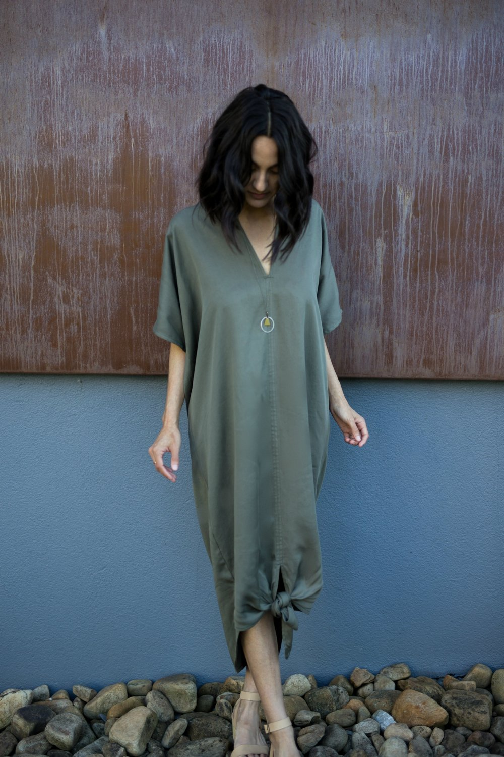 Pictured: The Bow Dress in Olive