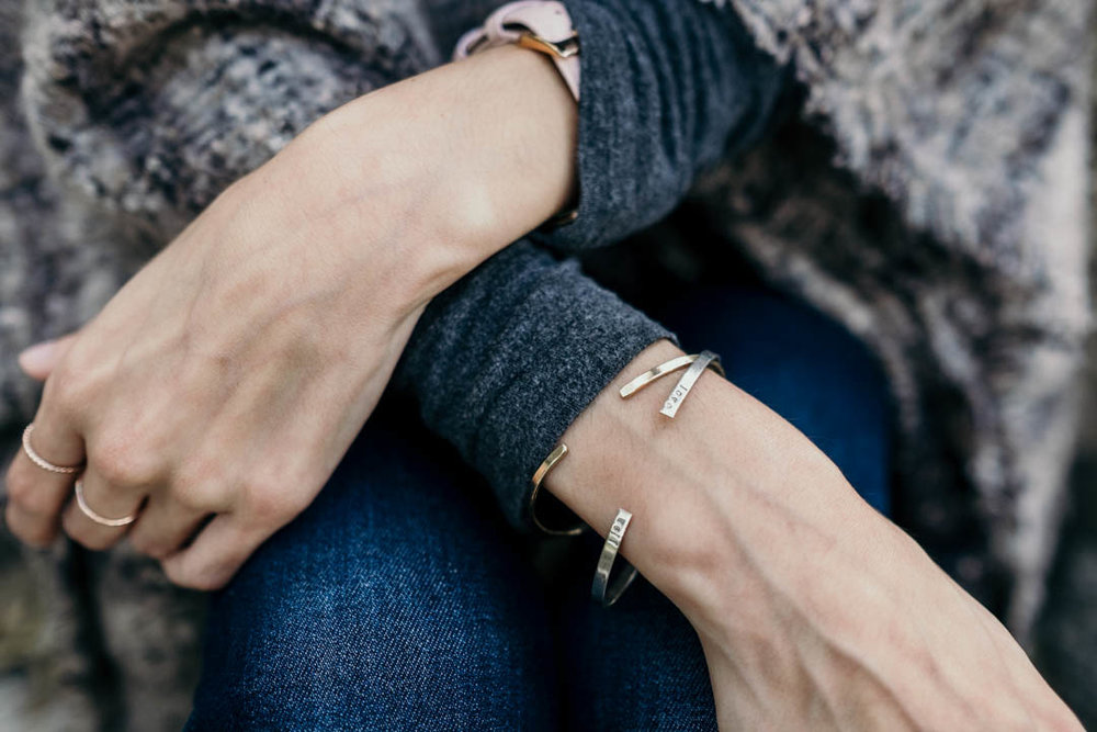 10a6d97678a Pictured  The Helen Love Well Cuff Bracelet + The Goldie Cuff Bracelet