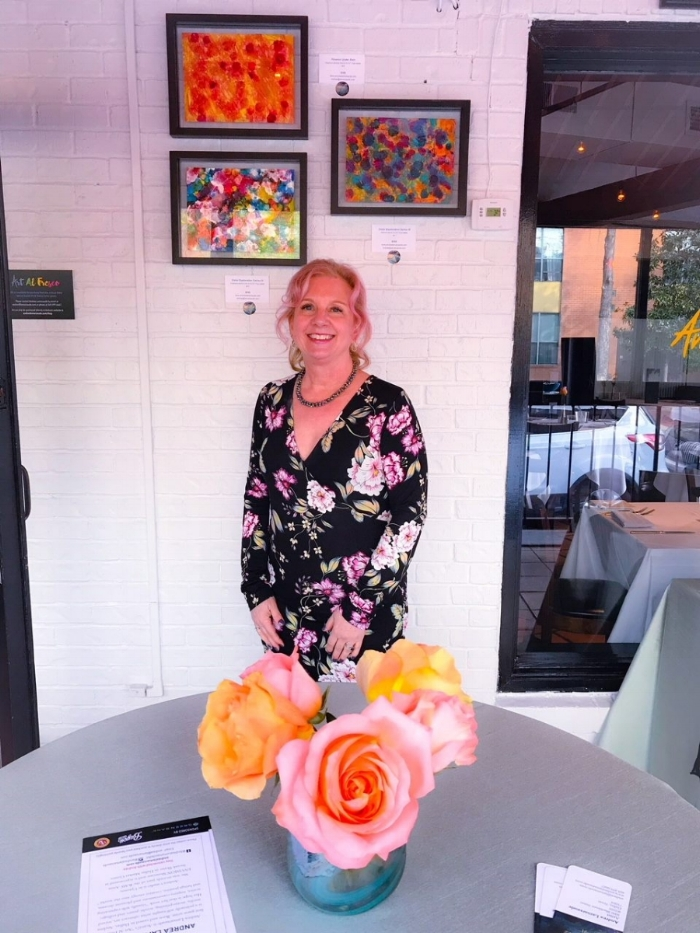 It was a magical evening at the Avanti Art Al Fresco Series Opening Celebration! The paintings behind me went to loving homes that evening!