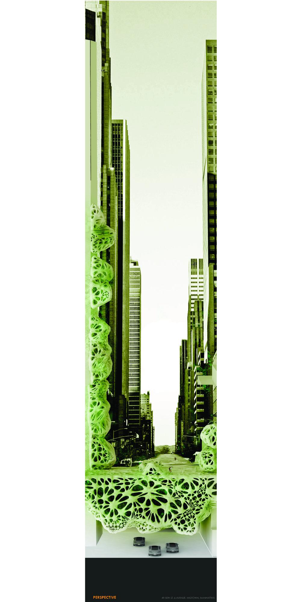 Futuristic carbon-neutral city scenario