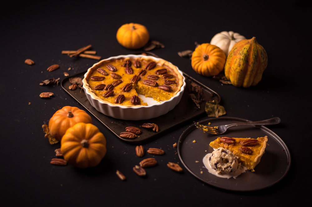 Pumpkin Pie decorated with Glazed Pecan Nuts.