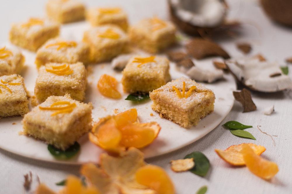 Orange and Coconut Bitesize Cakes.