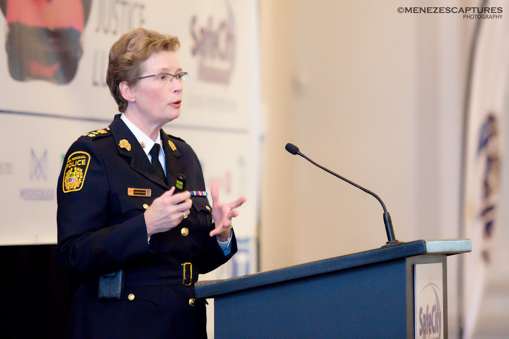 Peel Police Chief Jennifer Evans addresses guests at the 2017 Justice Luncheon, Mississauga