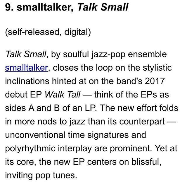 Hey now, we are humbled and honored to make @sevendaysvt best recordings of 2018! Super cool, thanks guys! More to come in 2019, stay tuned. #WALKTALL #talksmall