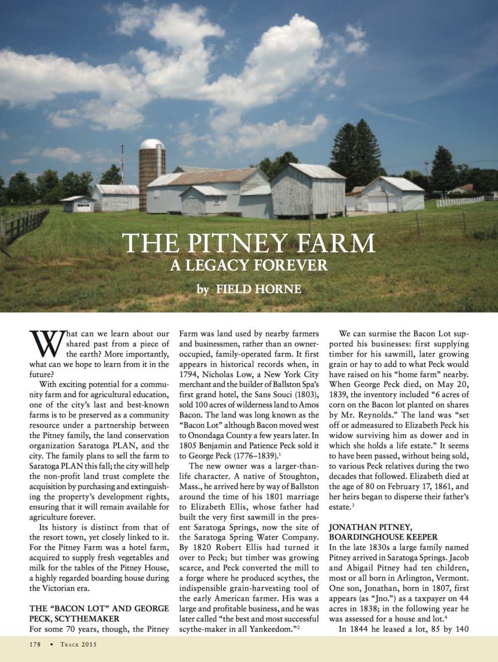 Click above to read field horne's  history of Pitney farm published in  Saratoga Living.