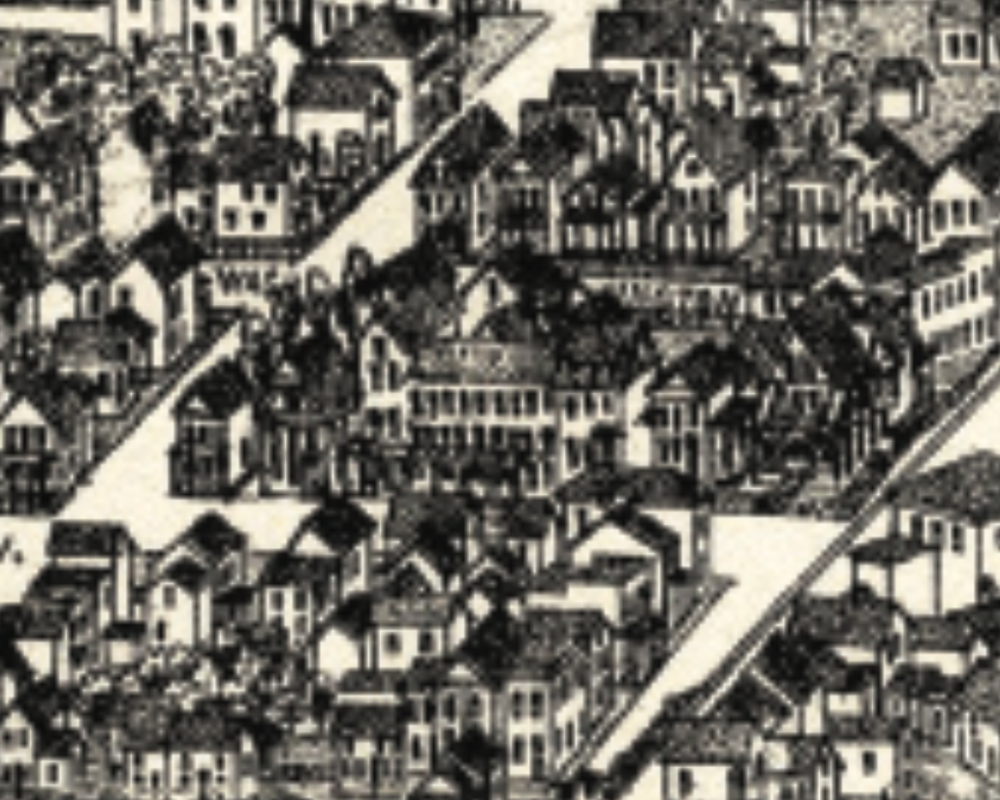 BURLEIGH'S 1888 BIRDSEYE MAP SHOWS THE PITNEY HOUSE ON WHAT WE KNOW TODAY AS GRAND AVENUE.