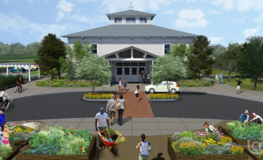 HOW MIGHT PITNEY MEADOWS EDUCATION AND MEETING HALL LOOK? HERE'S HOW AN LA GROUP ARTIST IMAGINES its entrance.