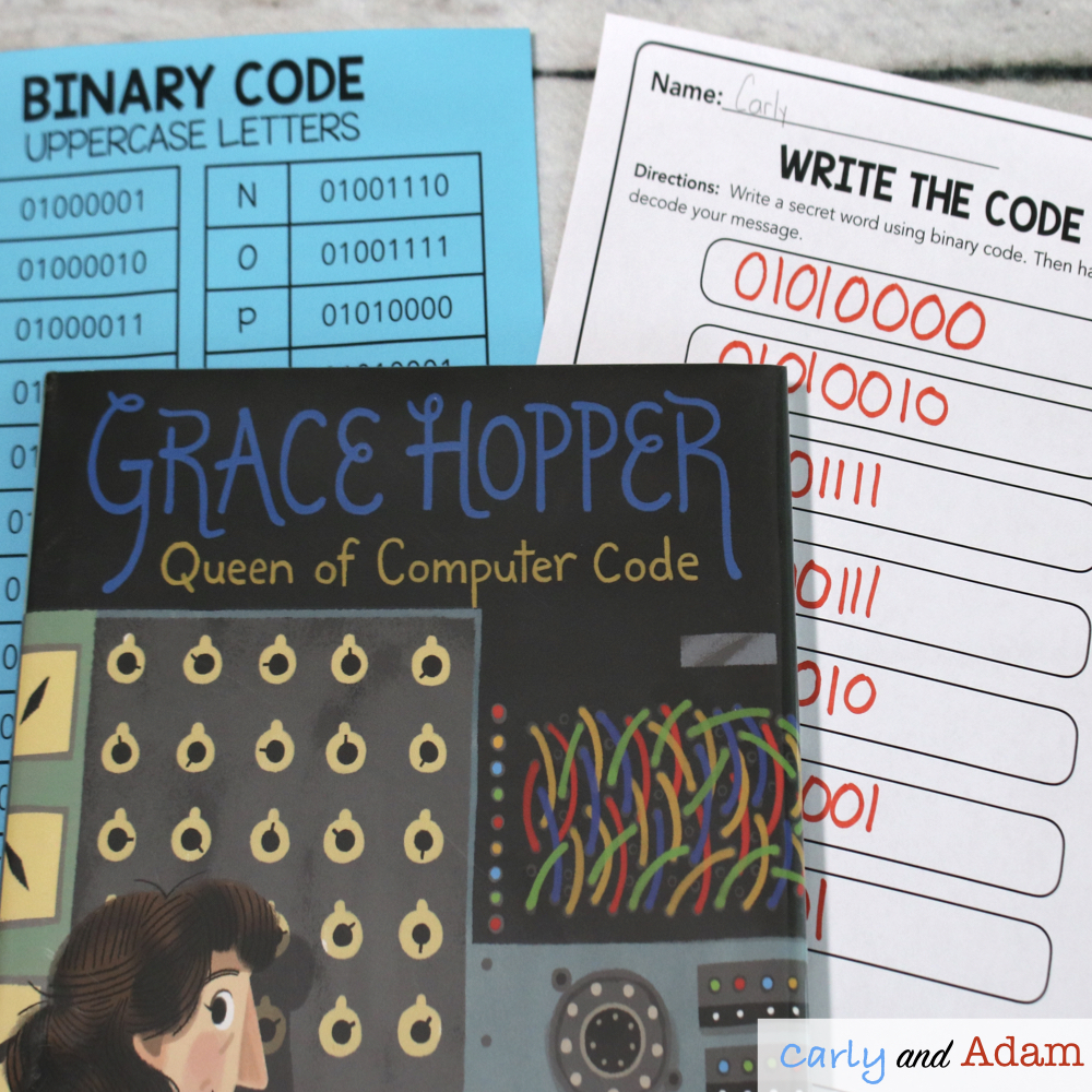 Grace Hopper Queen of Computer Code Binary Coding Activity