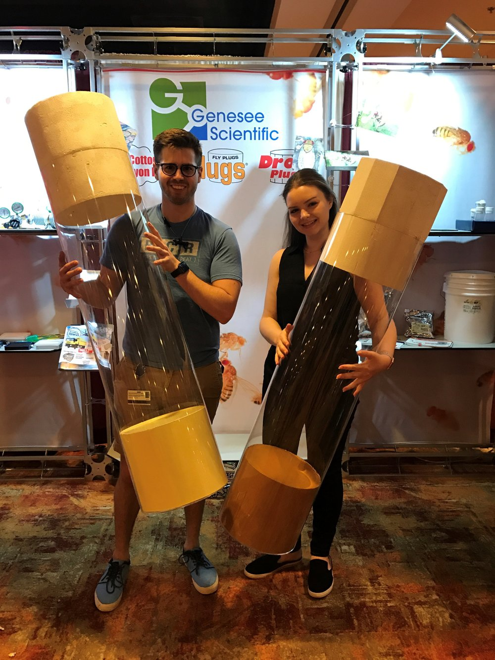 Mike and Alison couldn't resist getting a photo with the life-size vials from Genesee! No word yet on whether humans prefer molasses-media or dextrose-based media. Stay tuned!