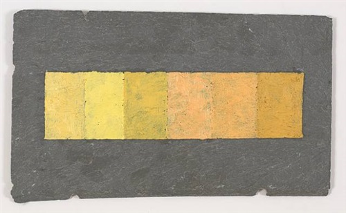6 Brands of Naples Yellow on Slate Tile, 2010