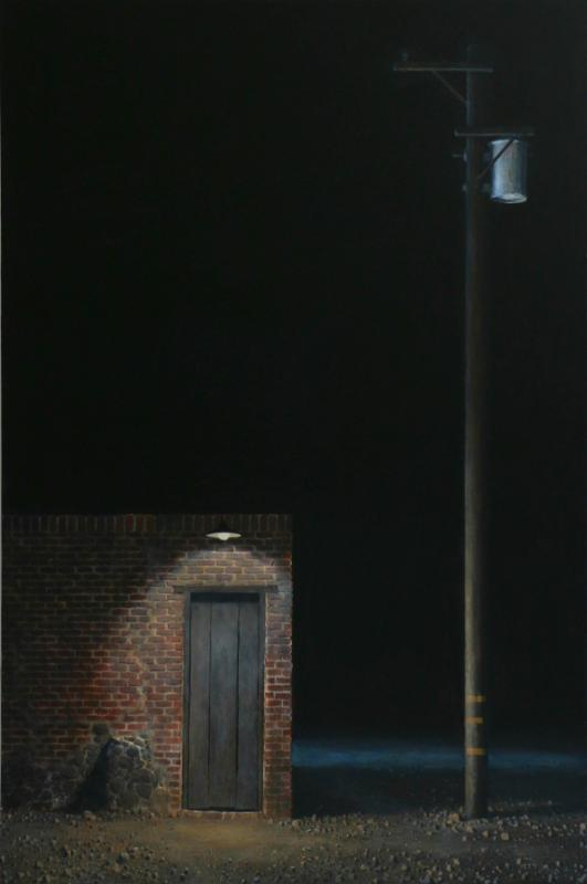 "Image: ""Easement"" by Francis DiFronzo. Oil over watercolor and gouache on panel (38"" x 25"")"