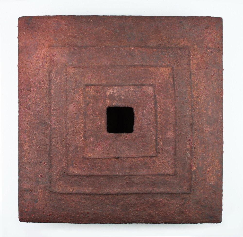 """Akira Yamada, #3 Vessel, Stoneware, wood-fired, 16"""" x 16"""" x 4"""" 2010"""
