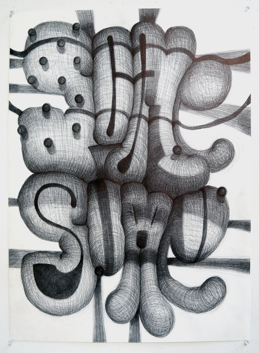 Image: SOMESOME Ballpoint pen on paper 30 x 22  inches 2017