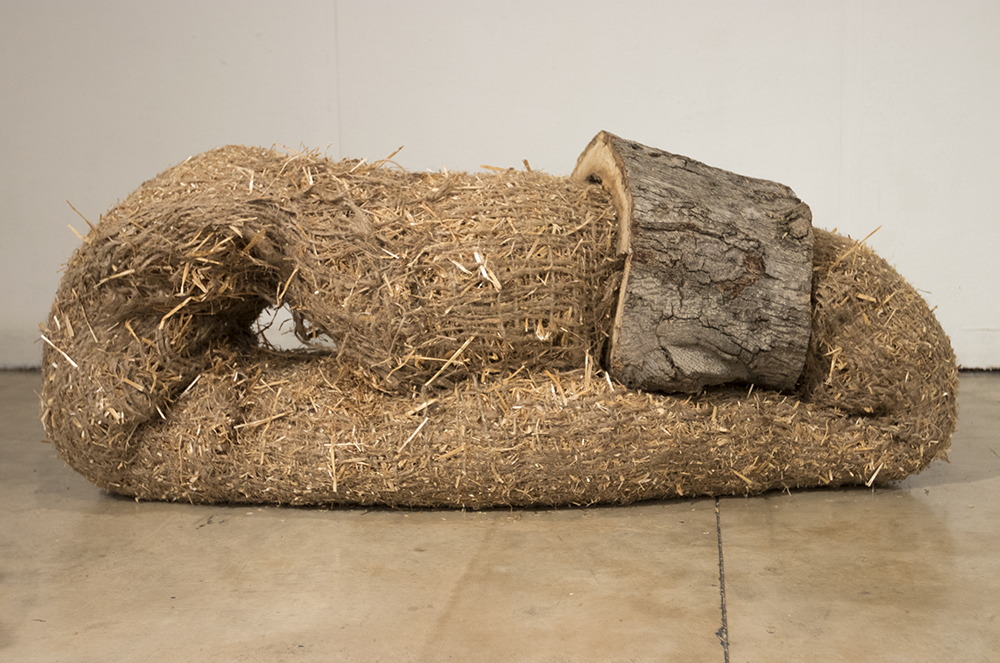 Image: Water as Sediment wheat straw, jute erosion cloth, lei netting, wood, logs, chair, edible tea bags Dimensions variable 2017