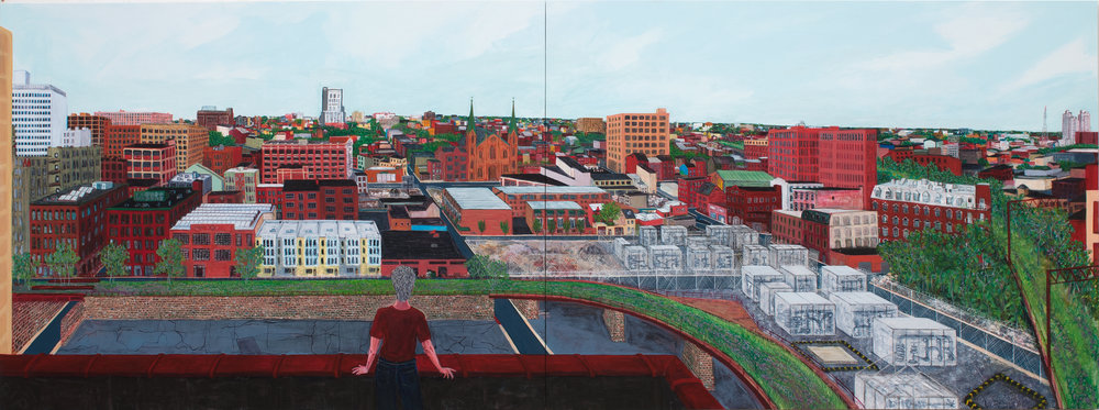Trestletown from the Wolf , 2016, acrylic on wood, diptych, 35 3/4 x 95 5/8 inches. Courtesy of Locks Gallery