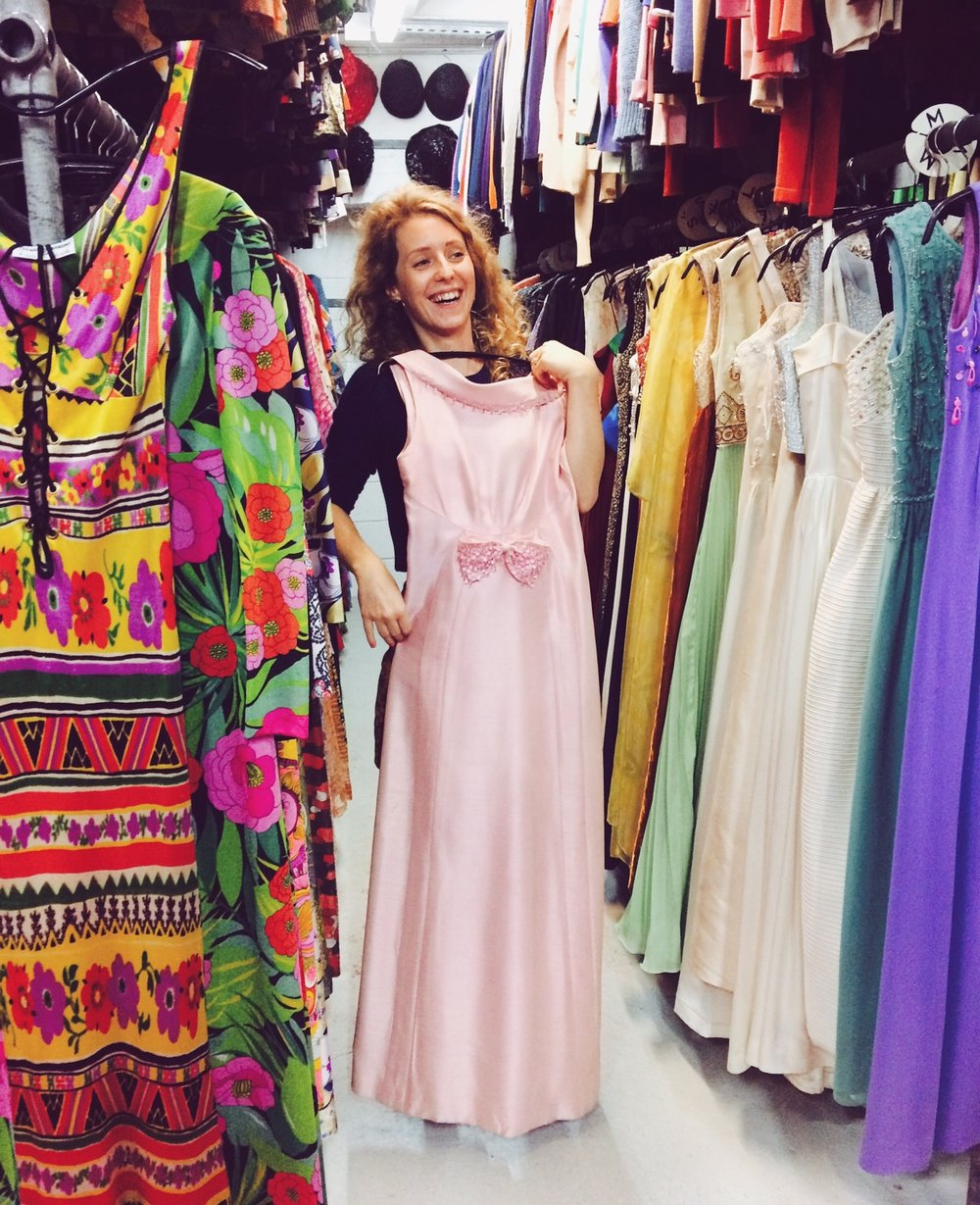 "Oh Hello ! It's me at a rental costume shop in Paris ""Les Mauvais Garçons"" while sourcing costumes for a show... that had nothing to do with the 1960s lol ! But you know... I got caught up by this alley ;)"