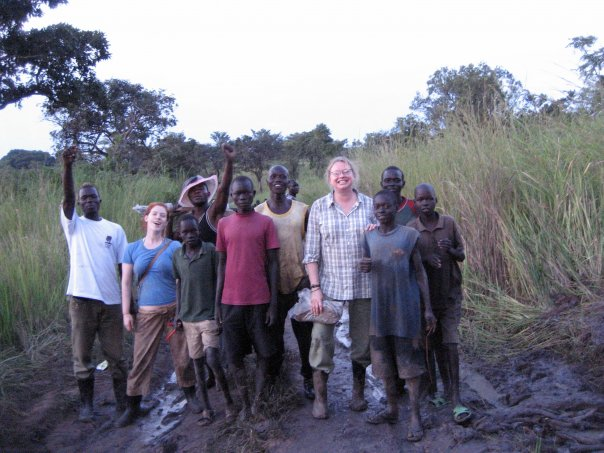 Long ago and far away. Happy people in the mud. Photo taken after 18 or so hours of struggle to get our vehicles unstuck somewhere between Yei and Mukaya Payam along the dreaded Logobaro Road in South Sudan