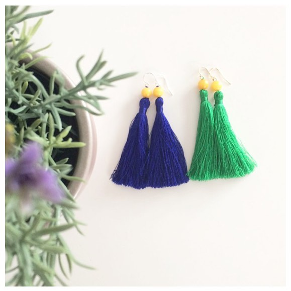 Back by popular demand! Two new shades added to the tassel earring collection. This time with gorgeous yellow  Ambronite stones... so Spring ready 💙💚💙💚💙💚💙 #madewithlove #tasselearrings