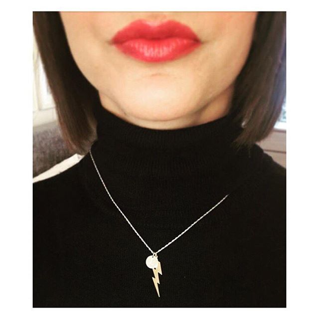 Gorgeous photo of @lizziehobbs in her lightening bolt necklace... fab colour lips too 🙌🏻💋 #madewithlove