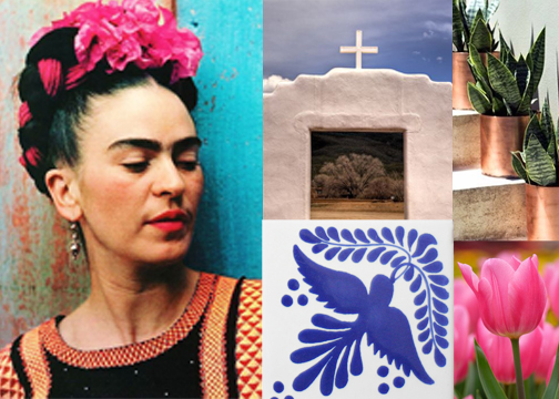 "Xoxocotlán  - (pronounced sho-sho-cote-láhn)Our ""Xoxocotlán"" story is inspired by a charming city near Oaxaca, Mexico, known for its lively celebrations. We dare not pay homage to Mexico, without paying homage to one of our favorite patronesses of this beautiful culture, Frida Kahlo. She was known for hosting raucous, epic dinner parties in Mexico that she called"