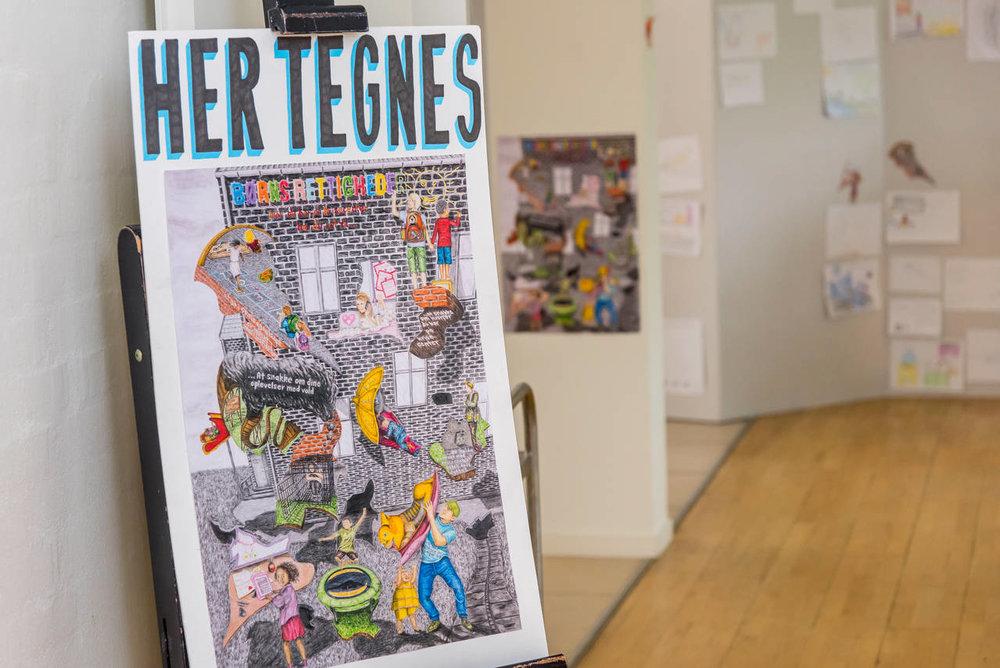 Børnene tegnede på livet løs på de 5 tegneworkshops rundt i landet -  foto:    Morten Dueholm, Viborg Folkeblad