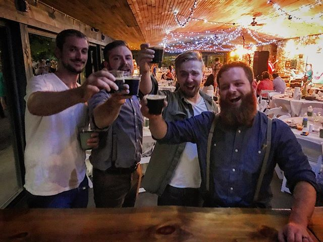 Chibbs, Reese, DVAL, Canadian Coffee Stout and myself meeting KVAL for the first time, circa 2018 (colorized).