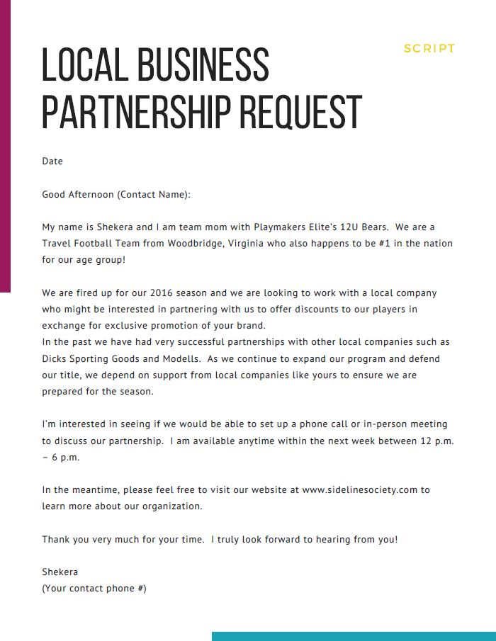 Local Business Partnership Request - Script