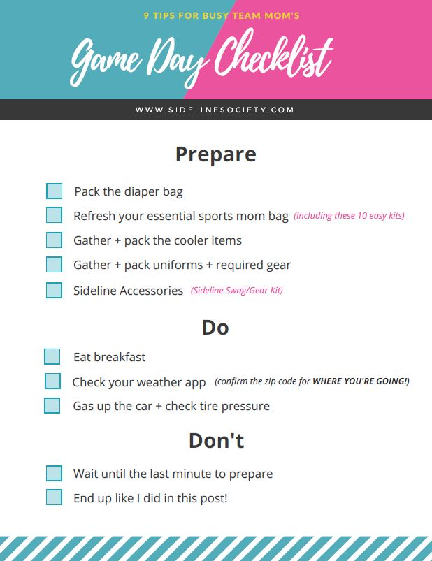Game Day Checklist