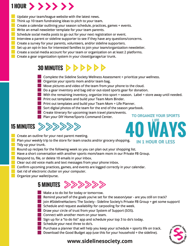 40 Ways to Organize Your Sports Life
