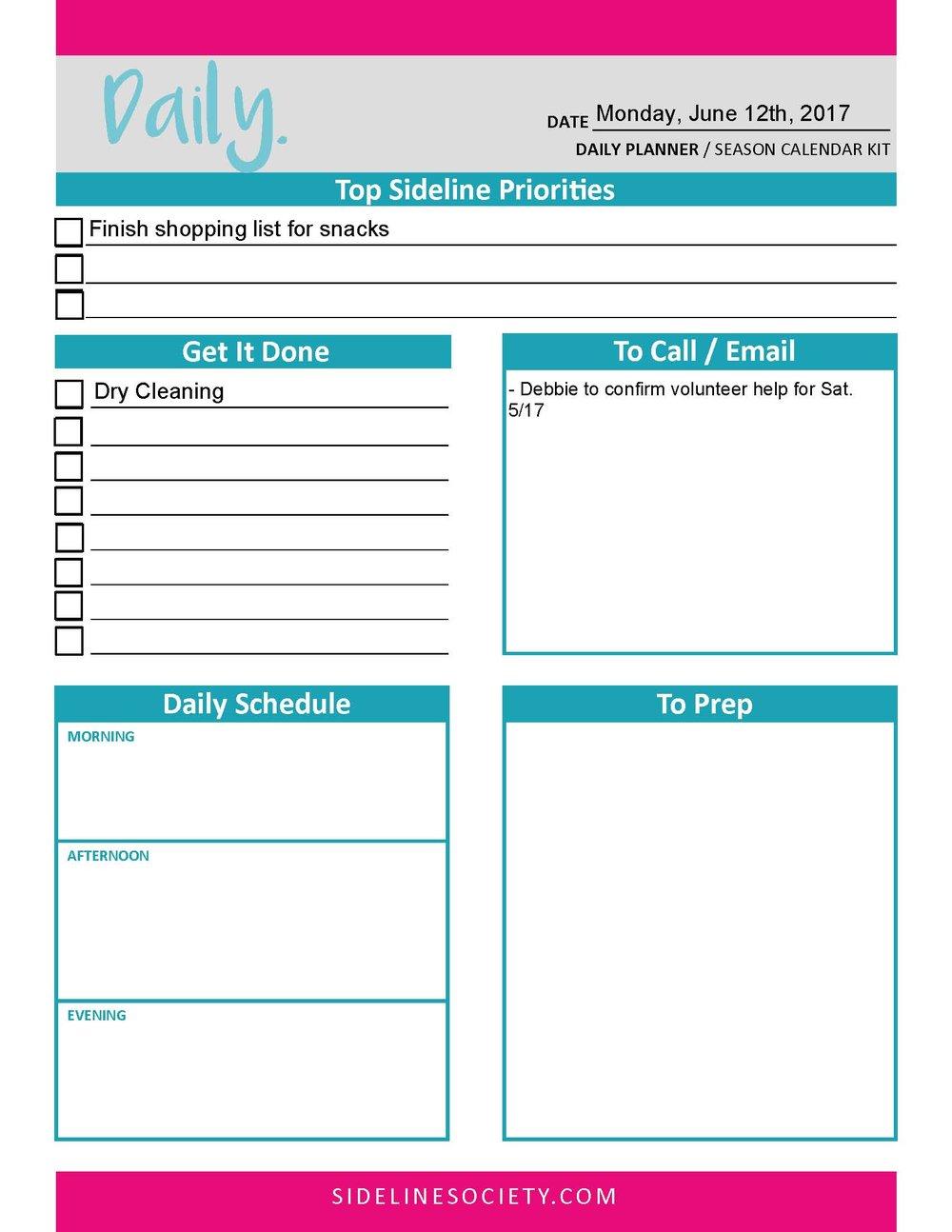 Daily Planner (Season Calendar Kit)