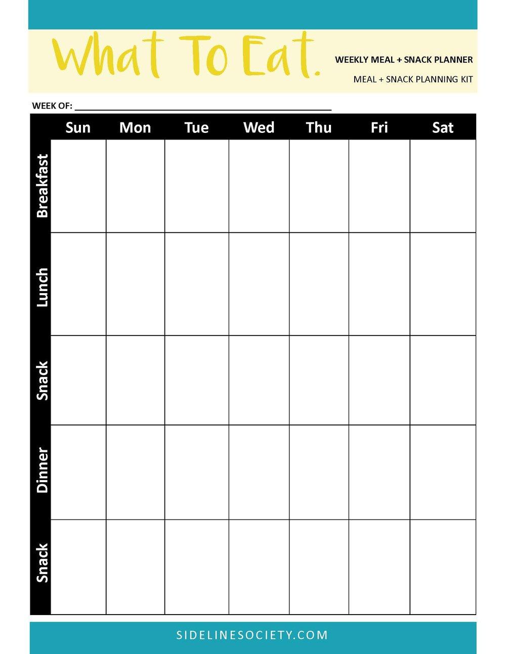 Weekly Meal + Snack Planner