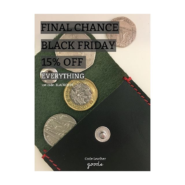FINAL chance to get an amazing 15% discount on ALL of our goods - including WORKSHOPS! BLACK FRIDAY EXTRAVAGANZA. Visit our web for all deals - link in bio 💥 • • •  #workshops #leather #leathergoods #handmade #leicestershire #leatherworkshops #discount #black #friday #blackfriday #handmadestyle #leatherstyle #styleaccessories #leatheraccessories #accesory #handmadegoods #bargain