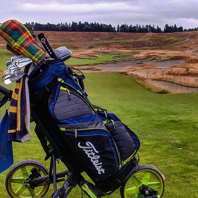 Finishing up my first round at #chambersbaygolfcourse very #windy and #rainy but very #beautiful. #washington #washingtongolf #golf #golfcourse #usopen #teamtitleist #titleist #stichgolf #scottycameron #cleveland #clicgear #nwgolfguys #pnw #lgg6