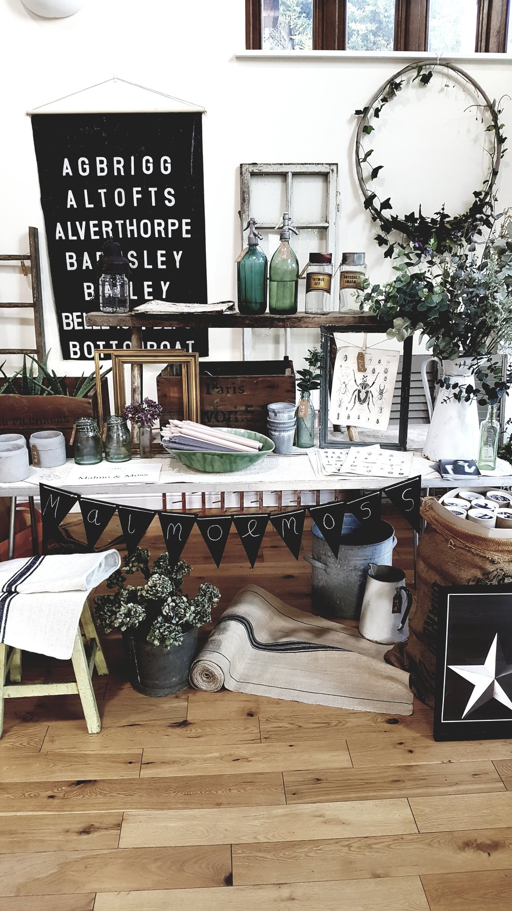 My Malmo & Moss stall featuring vintage finds and some gorgeous prints from talented Scottish design duo @weareamused