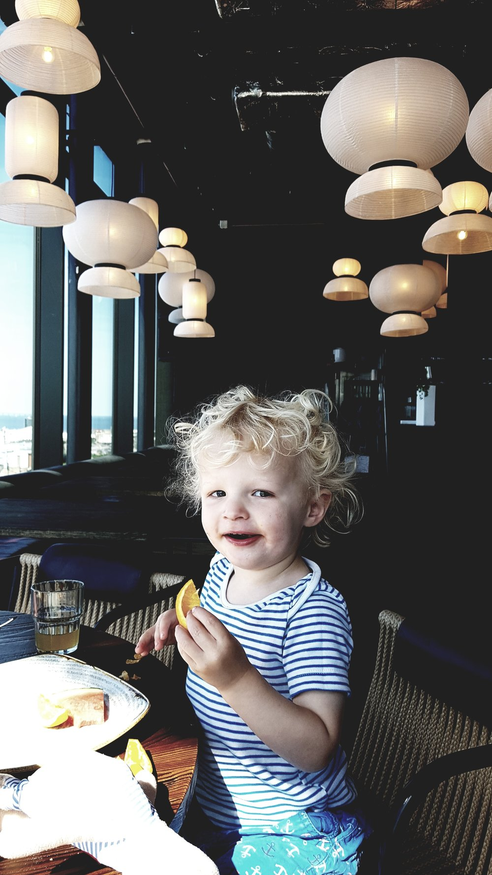 The miniest Malmo enjoying breakfast with a view at the Story Hotel