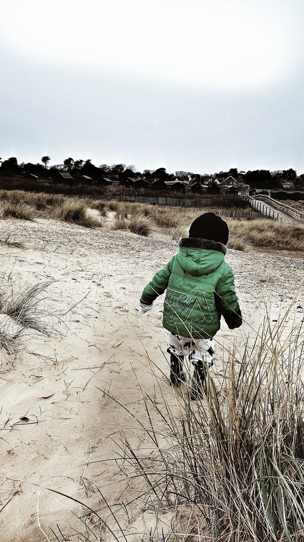 Miniest Malmo enjoy a romp through the sand dunes at Walberswick