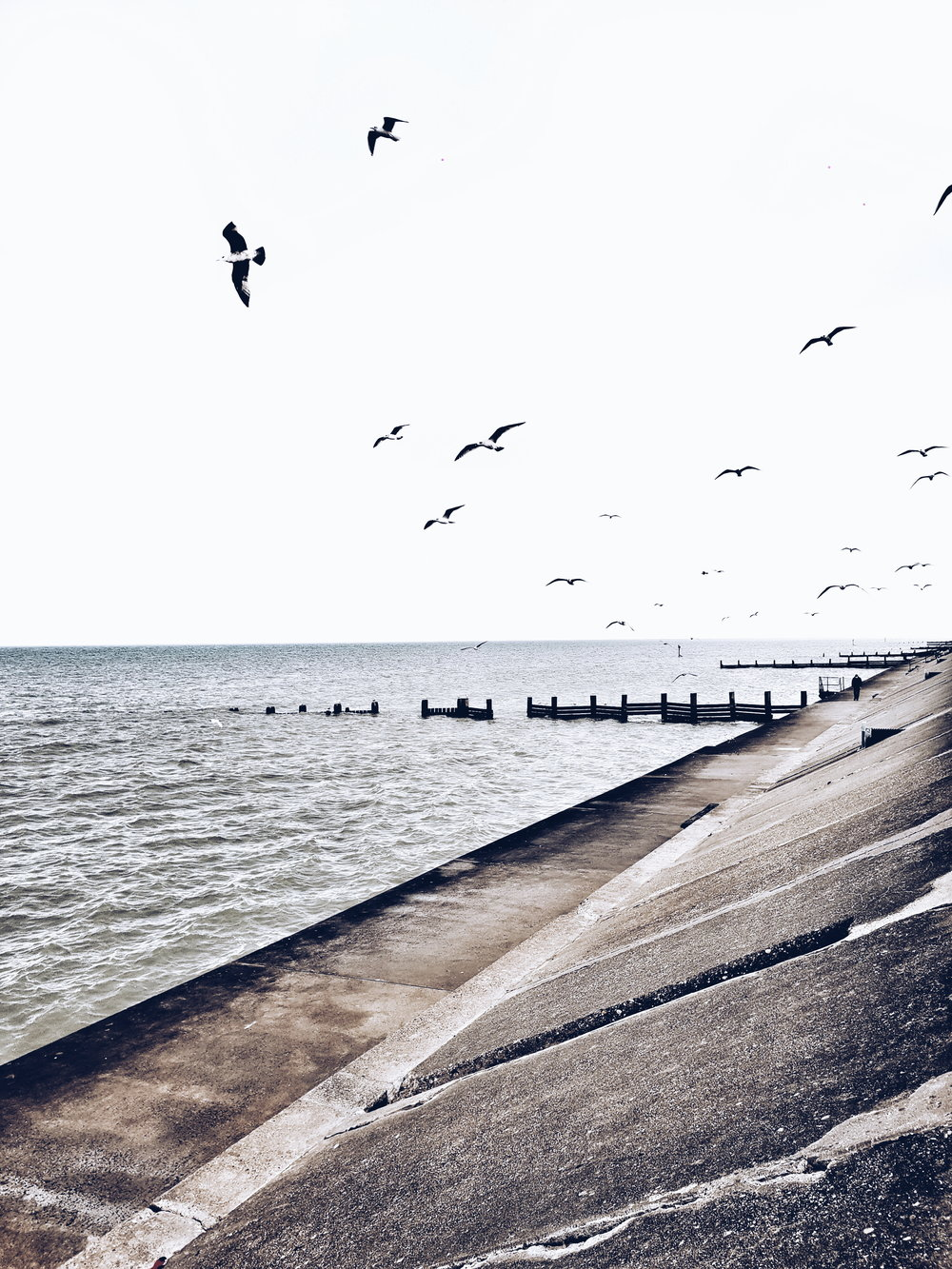 The seafront in Bacton on a slightly stormy day