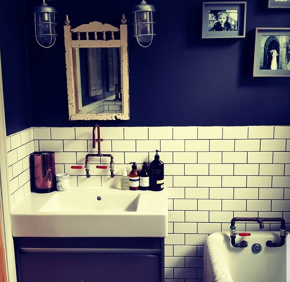The very first instagram post of my bathroom, complete with metro tiles, copper taps and a dodgy instagram filter!