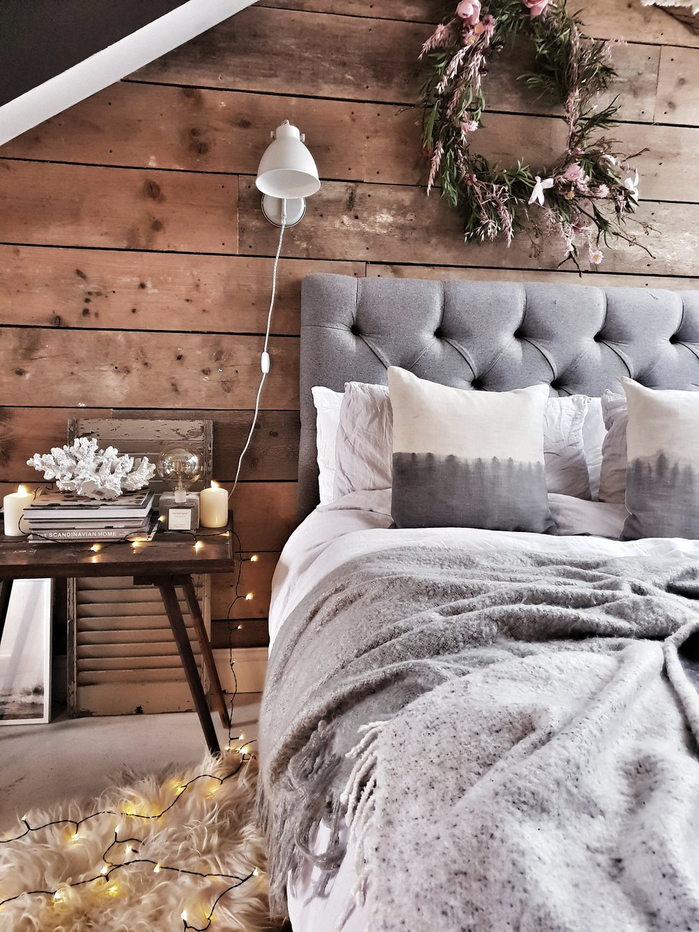 Sheepskins add romance and a touch of a Game of Thrones feel to the bedroom floor