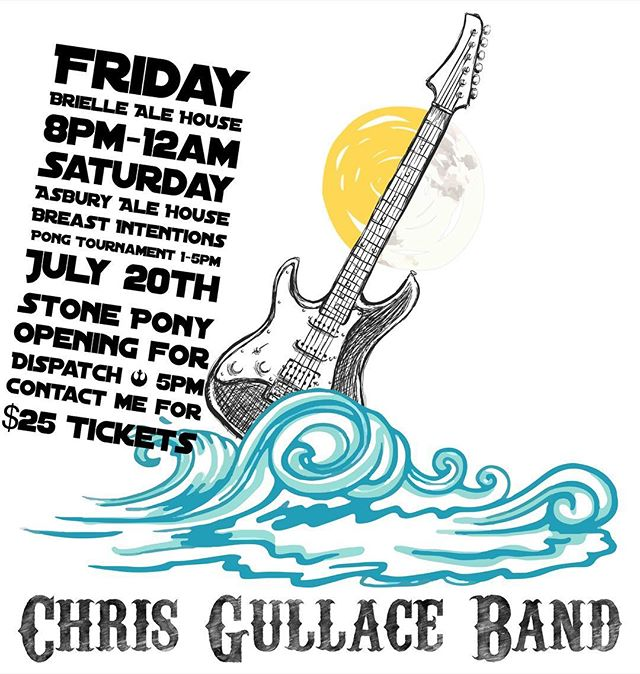 Chris Gullace Band will be playing your favorite summer songs Friday from 8pm to 12am!!! Come in and have some $1 Bud Light Bottles!!! #briellealehouse #chrisgullaceband @chrisgullaceband