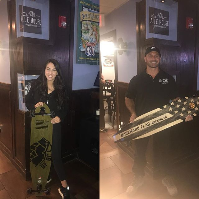 This week we will be raffling off this awesome longboard from @backwardflagbrewing  all proceeds will be going to their arms to artisans program! Come on in grab a drink and ask an associate for details! #forthevets🇺🇸