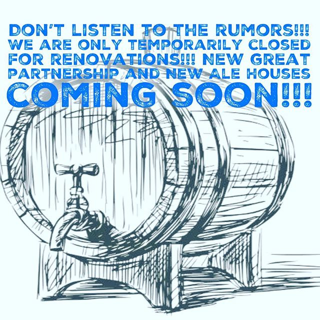 Don't listen to the rumors we are only closing temporarily for renovations. The renovations are due to an exciting new business partnership that we are not at Liberty to announce yet. We believe this partnership will take the ale house brand to another level and we are so excited to let you guys in on the news as soon as we are contractually allowed to. We are excited for this new opportunity not only for our current ale houses but the future ale houses to come in the near future. Thanks for your patience and your continued support. -the Gullace Family #briellealehouse #gullace #alehouse